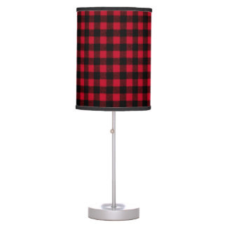 Ski Lodge Red Plaid Holidays Party Lamp