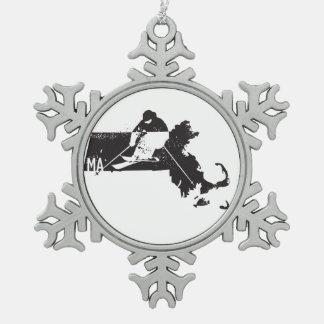 Ski Massachusetts Pewter Snowflake Ornament