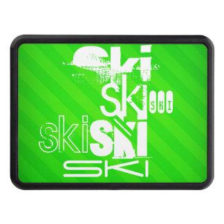 Ski; Neon Green Stripes Trailer Hitch Cover