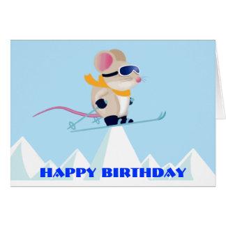 Ski Patrol Mouse in the Alps Birthday Card