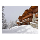 Ski resort chalet postcard