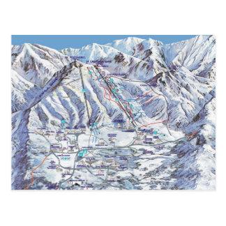 Ski resort, Romania, Piana Brasov, resort map Postcard
