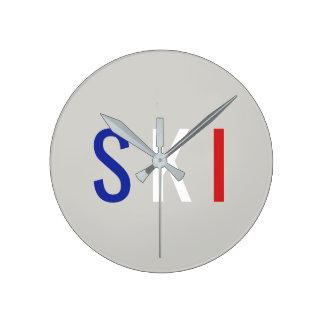 Ski Round Clock