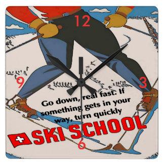 Ski School Funny Square Wall Clock