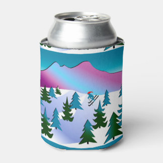 Ski Slope Art on Can Cooler