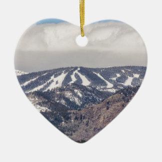 Ski Slope Dreaming Ceramic Heart Ornament