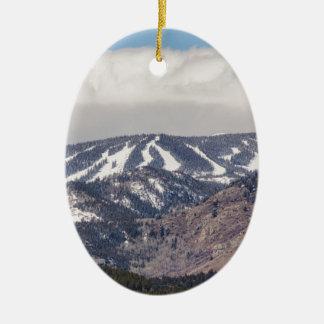 Ski Slope Dreaming Ceramic Oval Ornament