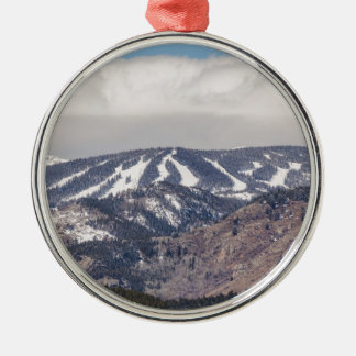 Ski Slope Dreaming Silver-Colored Round Ornament