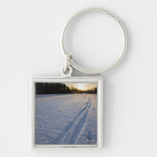Ski tracks at the Willowbrook Farm Preserve in Silver-Colored Square Keychain