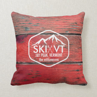 Ski Vermont Jay Peak Rustic Red Barnwood Throw Pillow