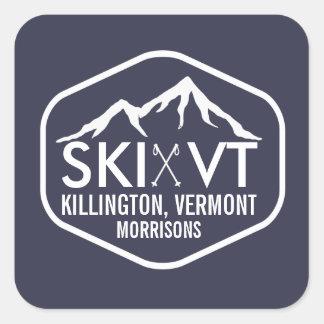 Ski Vermont Killington Stowe Stratton Rustic Blue Square Sticker