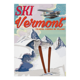 Ski Vermont retro vacation poster