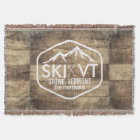 Ski Vermont Stowe Killington Stratton Sugarbush Throw Blanket