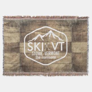 Ski Vermont Stowe Killington Stratton Sugarbush Throw Blanket
