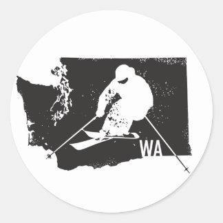 Ski Washington Round Sticker