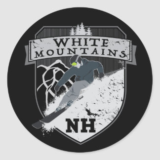 Ski White Mountains, NH Classic Round Sticker