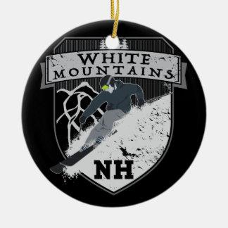 Ski White Mountains, NH Round Ceramic Ornament