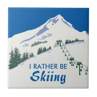 Ski Winter Scene Ceramic Tile