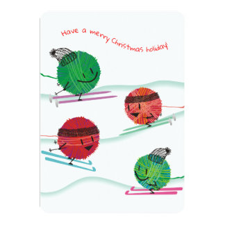 Ski yarn knitting needles crochet Christmas card