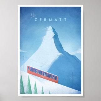 Ski Zermatt Vintage Travel Poster