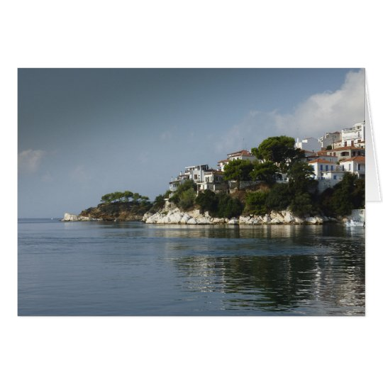 Skiathos Town from the sea Calm Waters Card