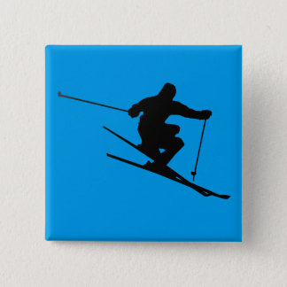Skier 2 Inch Square Button