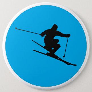 Skier 6 Inch Round Button