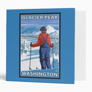 Skier Admiring - Glacier Peak, Washington Vinyl Binder