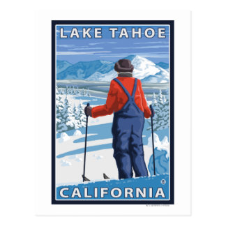 Skier Admiring - Lake Tahoe, California Postcard
