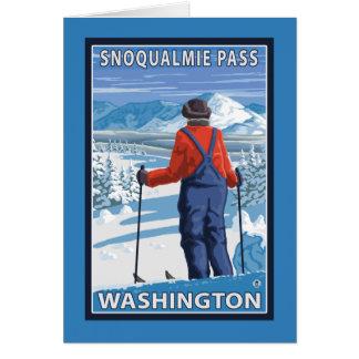 Skier Admiring - Snoqualmie Pass, Washington Card