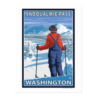 Skier Admiring - Snoqualmie Pass, Washington Postcard