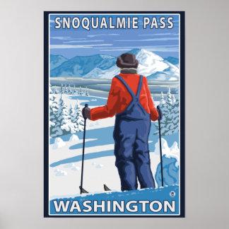 Skier Admiring - Snoqualmie Pass, Washington Poster