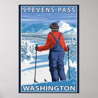 Skier Admiring - Stevens Pass, Washington Poster