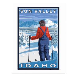 Skier Admiring - Sun Valley, Idaho Postcard