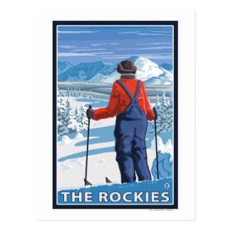 Skier Admiring - The Rockies Postcard