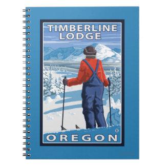 Skier Admiring - Timberline Lodge, Oregon Notebooks