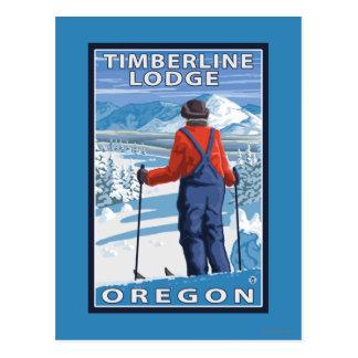 Skier Admiring - Timberline Lodge, Oregon Postcard