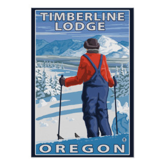 Skier Admiring - Timberline Lodge, Oregon Poster