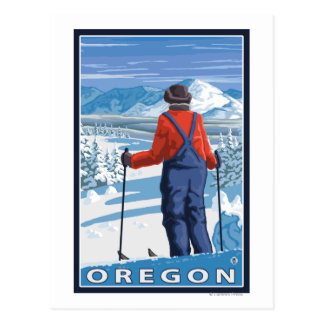 Skier Admiring- Vintage Travel Poster Postcard