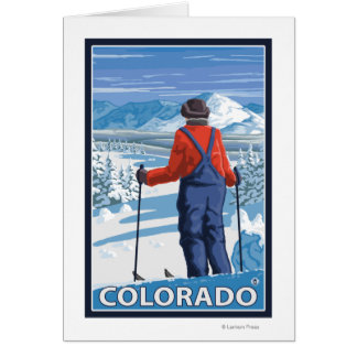 Skier AdmiringColorado Card