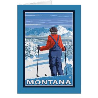 Skier AdmiringMontanaVintage Travel Poster Card