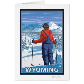 Skier AdmiringWyoming Card