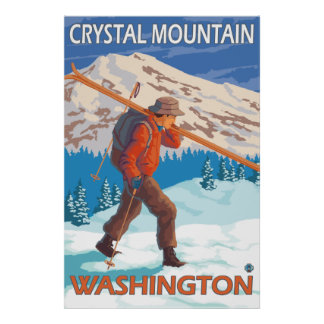 Skier Carrying Snow Skis - Crystal Mountain, WA Poster