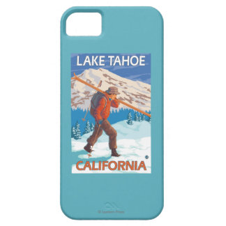 Skier Carrying Snow Skis - Lake Tahoe, Californi iPhone 5 Case