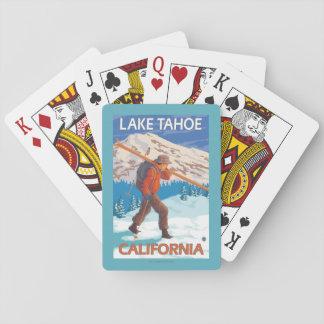 Skier Carrying Snow Skis - Lake Tahoe, Californi Playing Cards