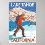 Skier Carrying Snow Skis - Lake Tahoe, California Posters