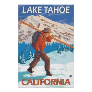 Skier Carrying Snow Skis - Lake Tahoe, California Poster