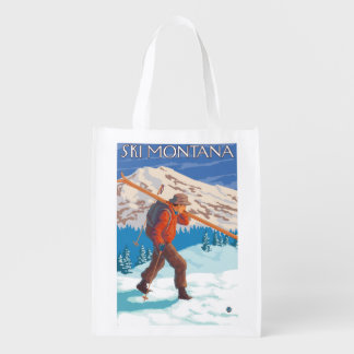 Skier Carrying Snow Skis - Montana Grocery Bags