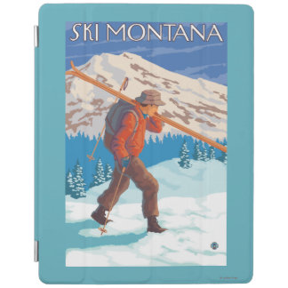 Skier Carrying Snow Skis - Montana iPad Cover