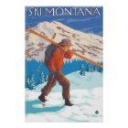 Skier Carrying Snow Skis - Montana Poster